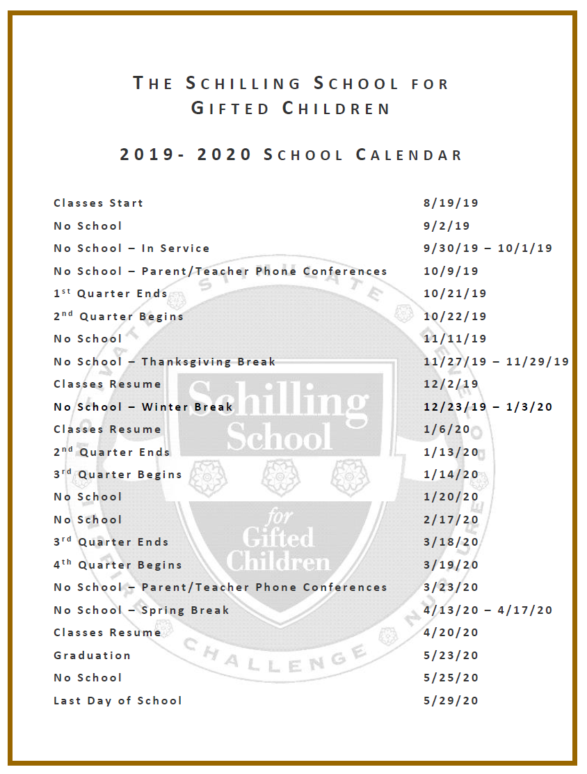 Cincinnati Public Schools Calendar.Schilling School For Gifted Children The Schilling School For